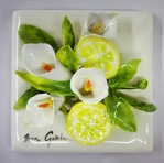 008.3.2 Tile - Flower - CallaLillies with Lemon 6'' x 6''