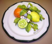 011_1 12'' Plate - fruit -Citrus - Orange, Lemon with Half Lime
