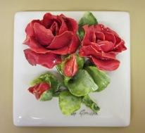 033.8.4 Tile - Flower - Roses - red 6'' x 6''