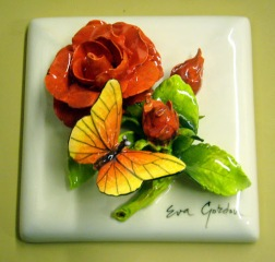 033_8_3 Tile - Flower - Rose - red - with Butterfly 6'' x 6''