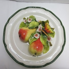 12 in Plate 2 Pears w Blossom and Butterfly IMG_6950