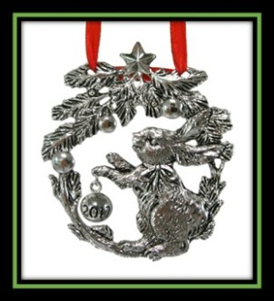 Bunny with Pine Needles Wreath Ornament 2017