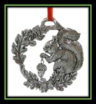 Squirrel with Oak Leaf Wreath Ornament 2017